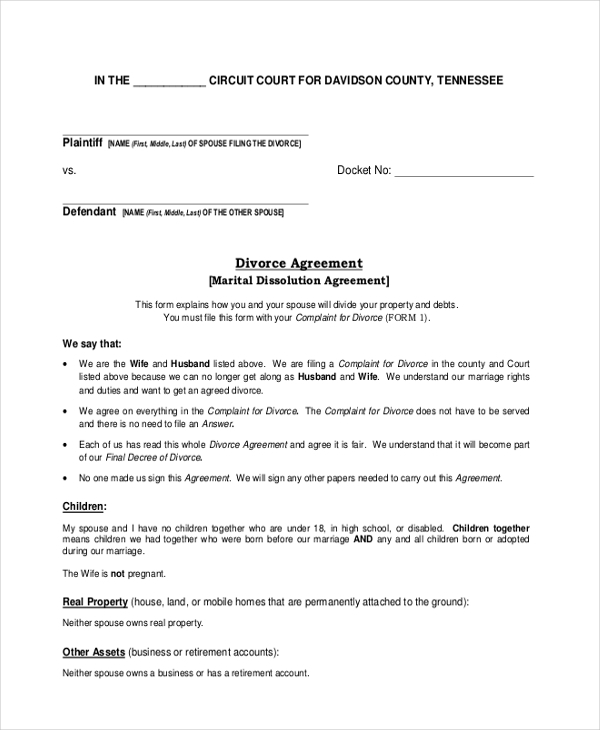 divorce agreement form