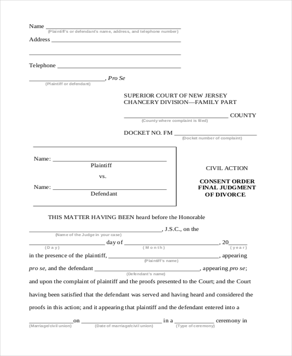 Sample Divorce Form   Free Documents In Pdf