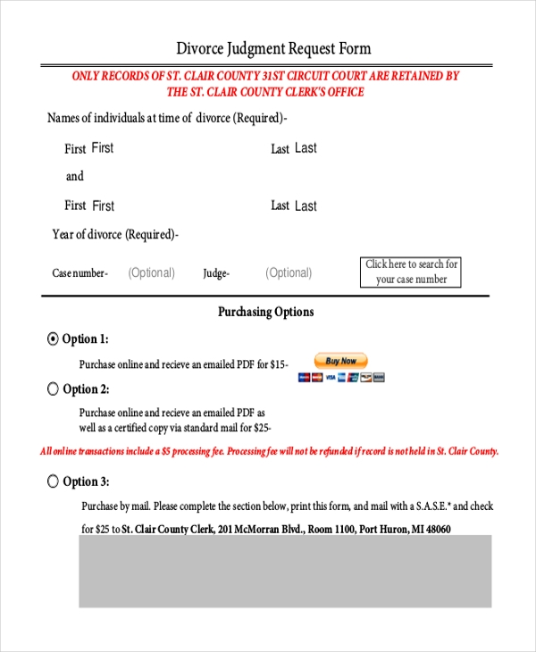 divorce judgment request form