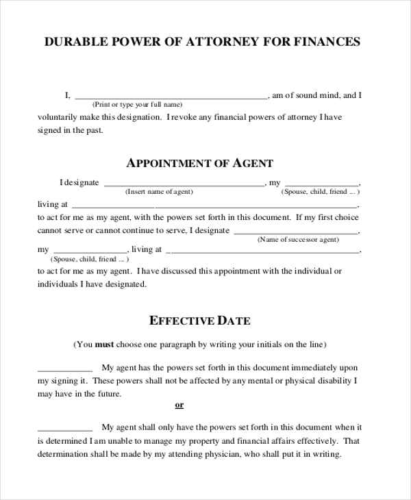 Sample Durable Power Of Attorney Form   Free Documents In Pdf