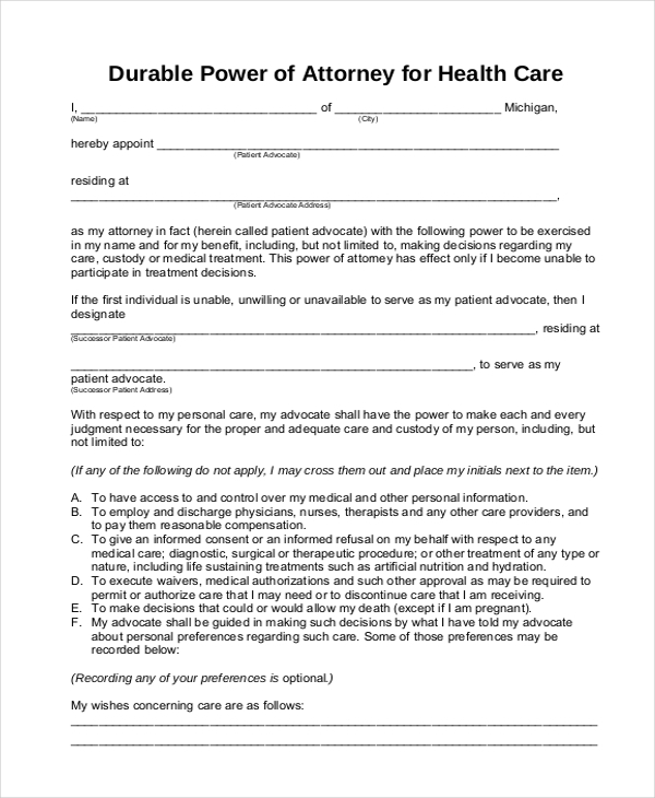 durable power of attorney for health care form1