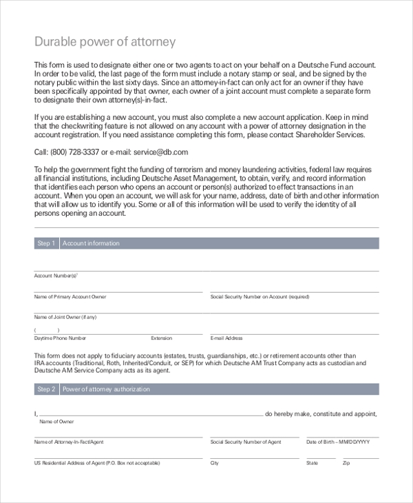 Sample Power Of Attorney Form - 10+ Free Documents In Doc, Pdf