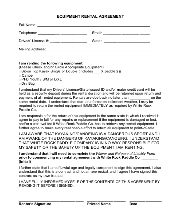 simple equipment rental agreement - Simple Equipment Rental Agreement Template Free