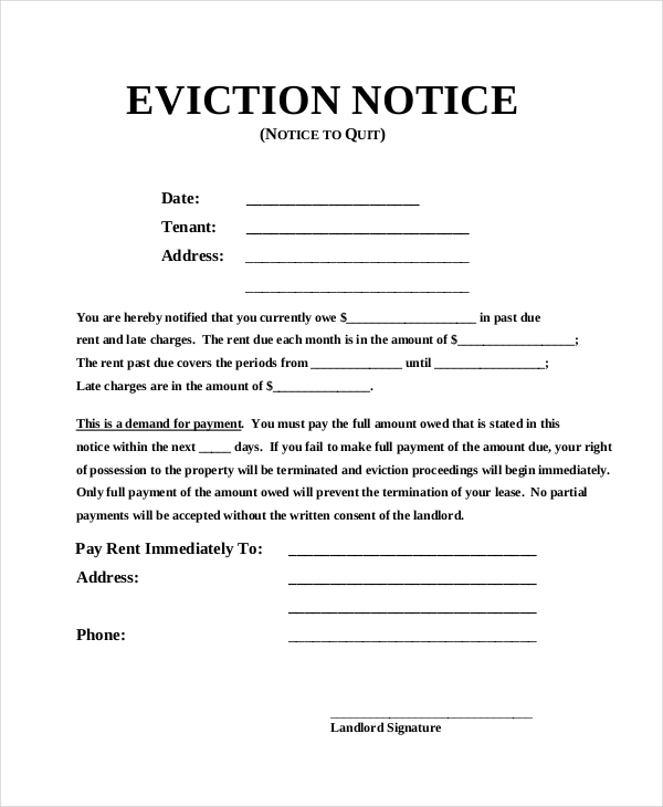 Eviction Notice Example  Landlord Eviction Notice Sample