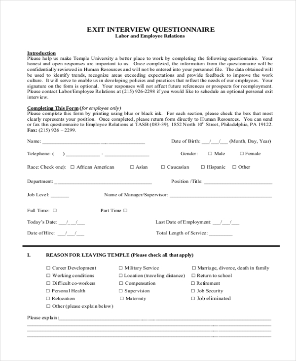 sample exit interview form 10 free documents in doc pdf. Black Bedroom Furniture Sets. Home Design Ideas