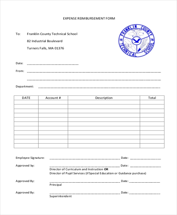 Sample Reimbursement Form   Free Documents In Doc Pdf