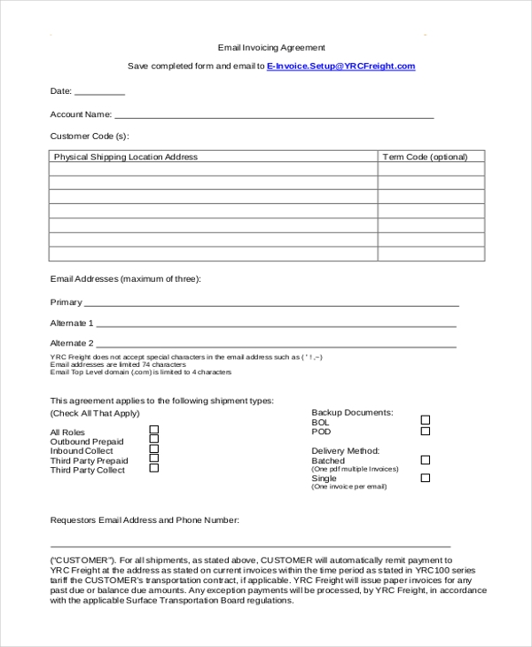 email invoicing agreement