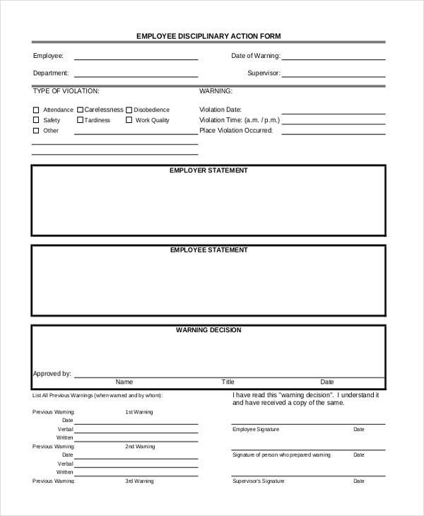 employee disciplinary action form1
