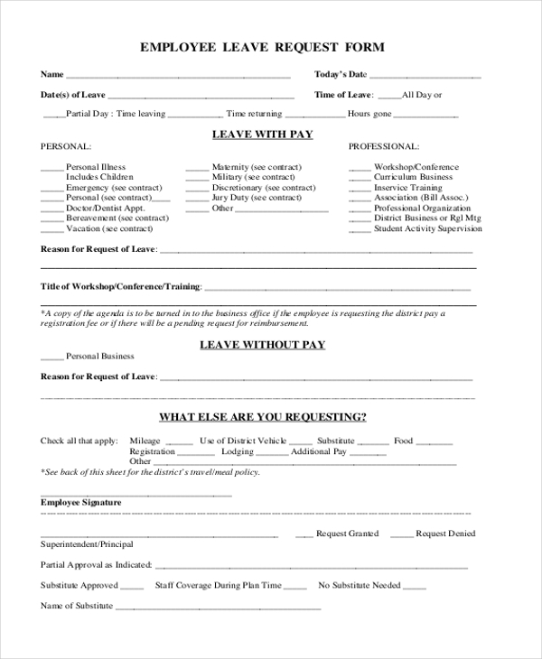Employee Leave Request Form  Leave Request Sample