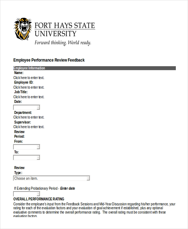 Sample Employee Performance Review Form 10 Free Documents in – Performance Review Format