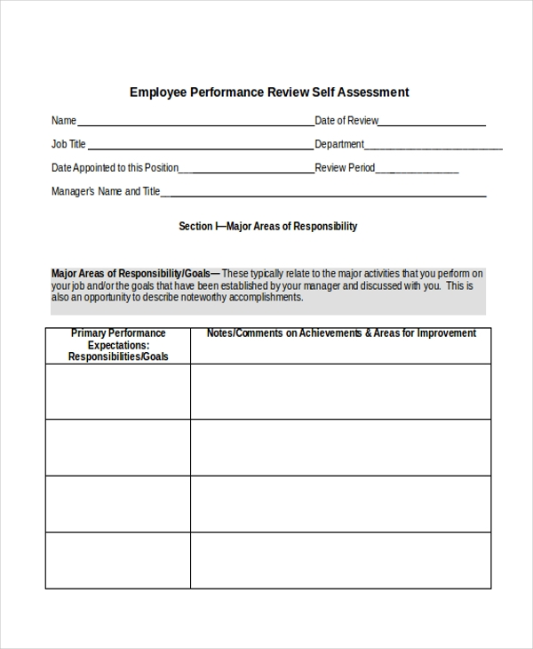 Sample Employee Performance Review Form - 10+ Free Documents In