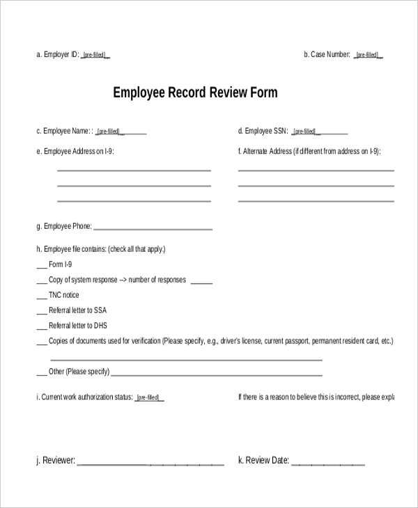 Sample Employee Review Form - 10+ Free Documents In Doc, Pdf