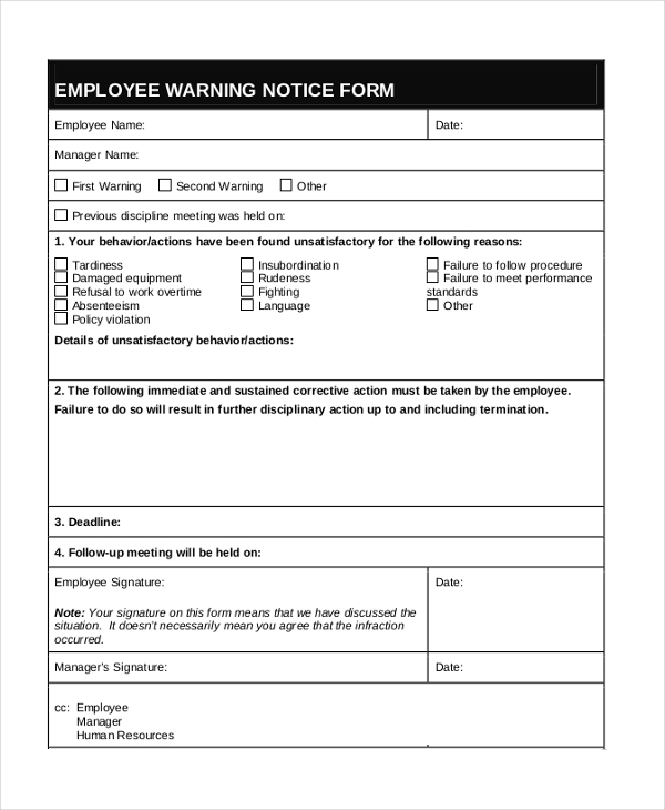 employee warning form