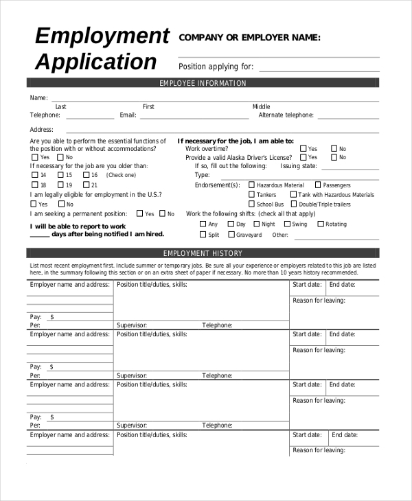 Sample Employment Application Form 13 Free Documents in PDF – Sample Employment Application