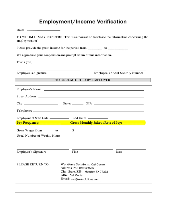 Sle Verification Form 8 Free Documents In Pdf ~ Employment ...