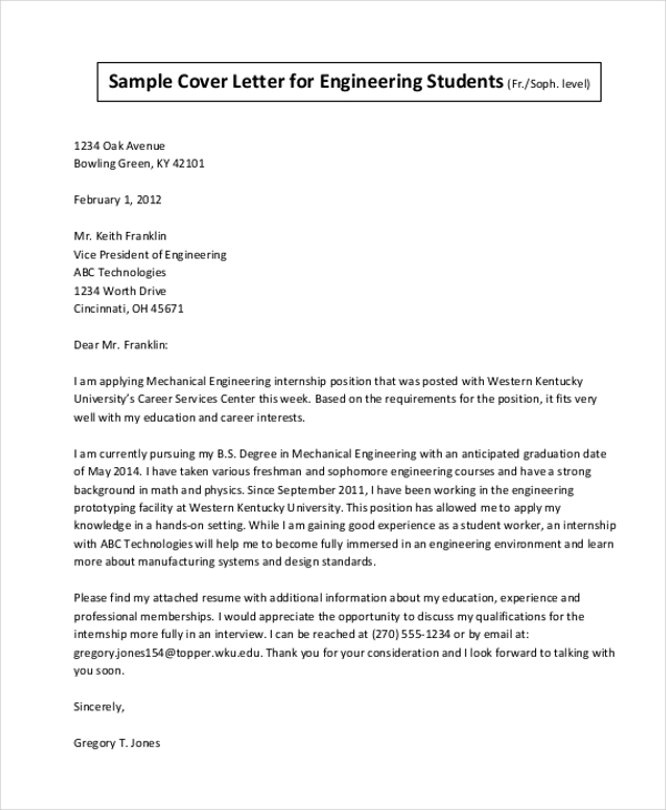 sample cover letter for engineering internship