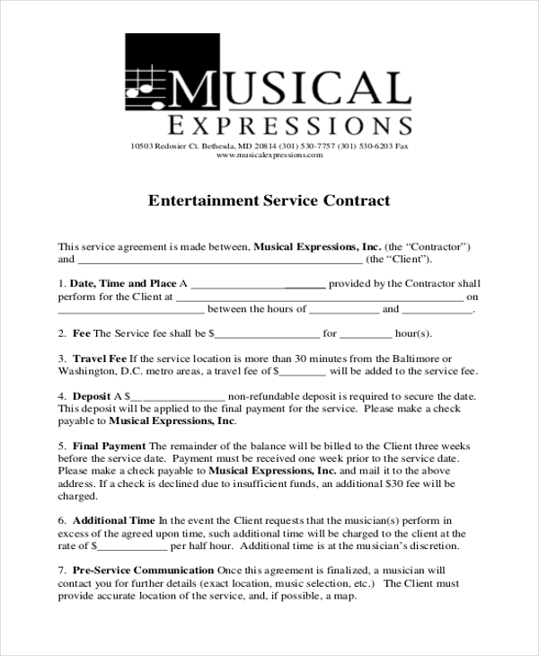 Entertainment Service Contract  Free Service Contract