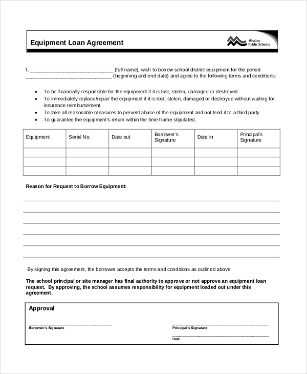 equipment loan agreement