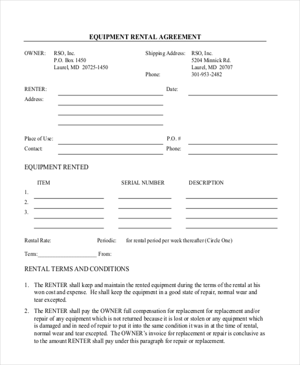 Equipment Lease Agreement Template Equipment Lease Agreement – Free Rental Agreements