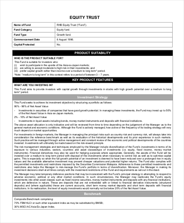 equity trust form