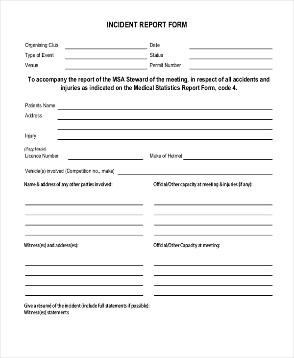 Sample Incident Report Form 11 Free documents in PDF – Sample Incident Report Form