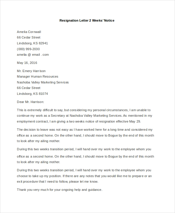 examples of resignation letter 2 weeks notice
