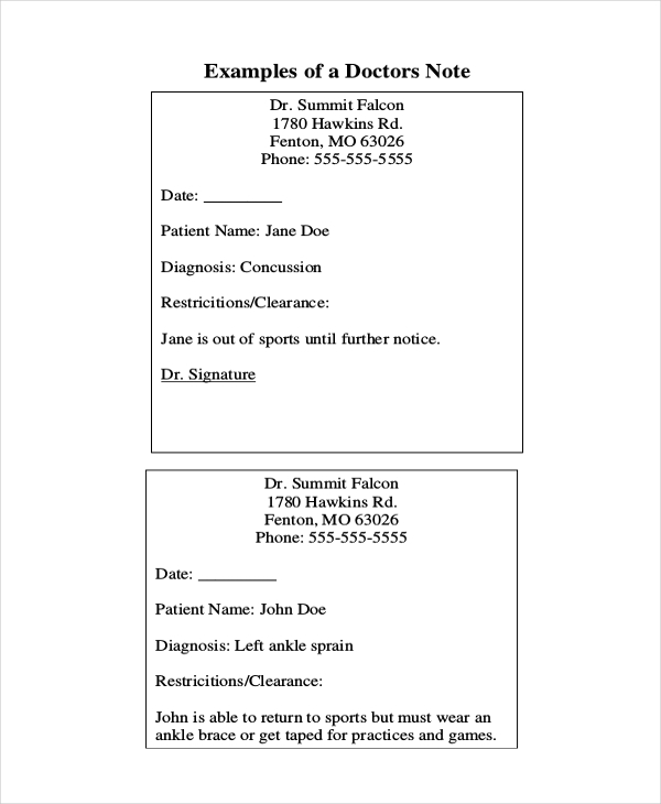 Sample Doctors Notes 8 Free Documents in PDF Doc – Doctors Note