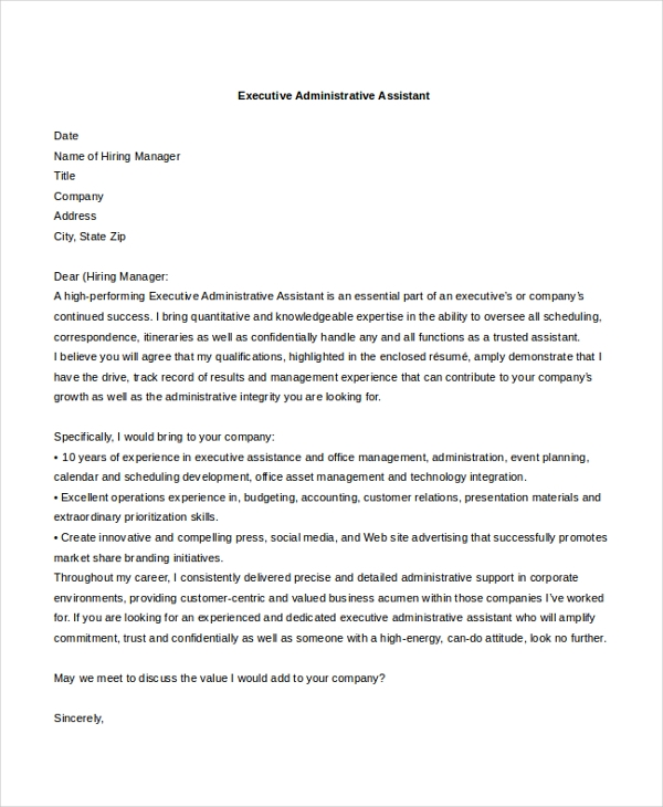 executive administrative assistant cover letter example2