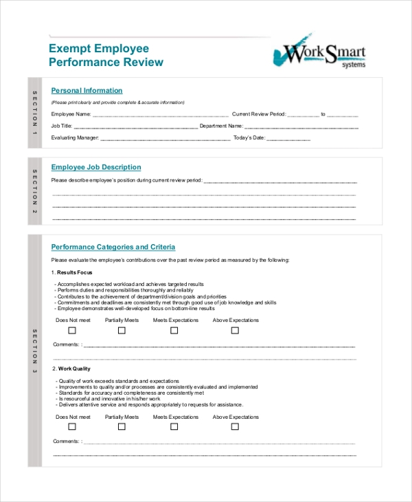exempt employee performance review