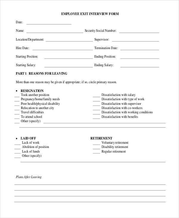 Sample Exit Interview Form   Free Documents In Doc Pdf