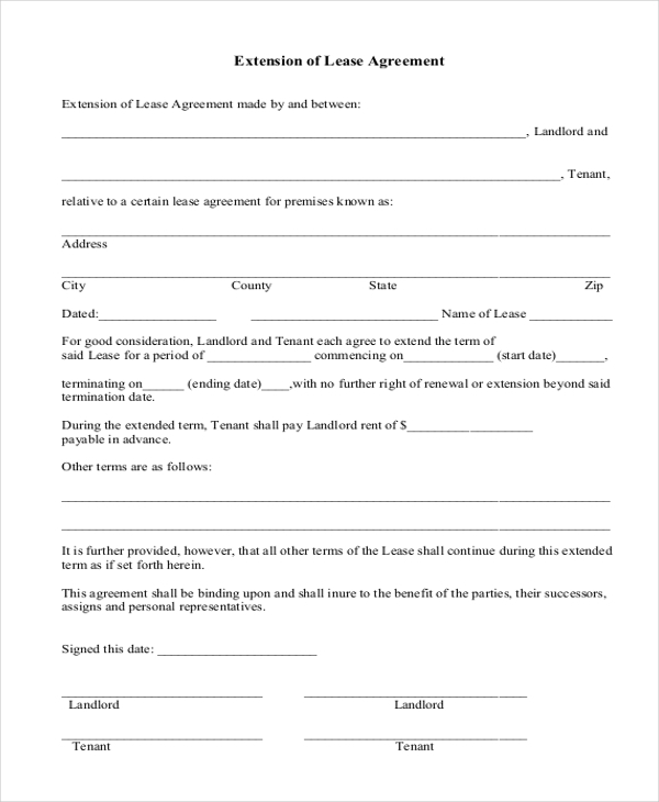 Sample Extension Of Lease Agreement