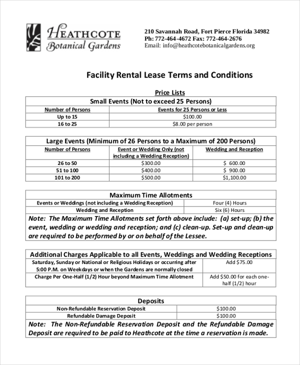 facility rental lease