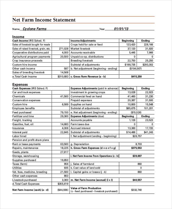 farm income statement