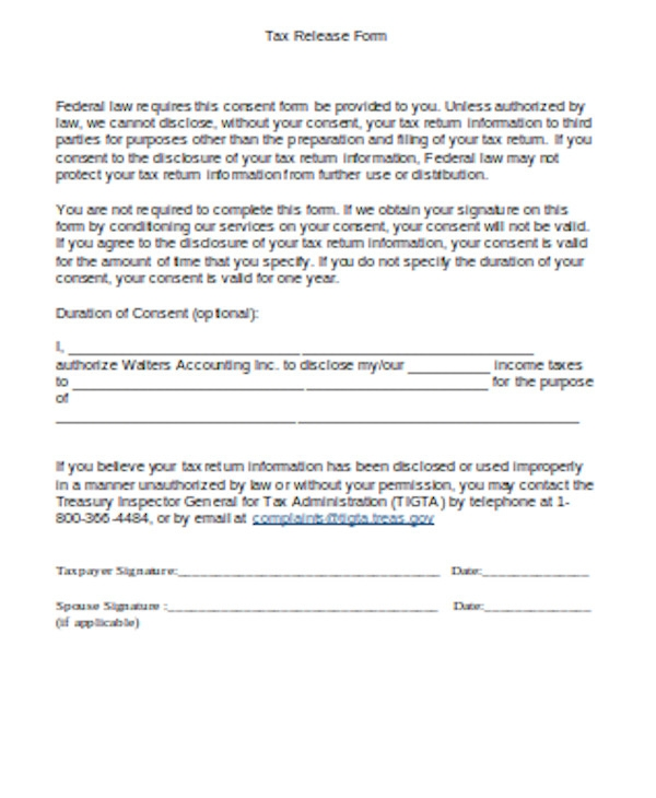 federal tax release form