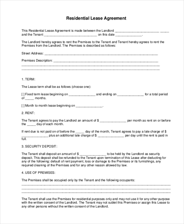 Sample Residential Lease Form 11 Free Documents in Doc PDF – Tenant Lease Form
