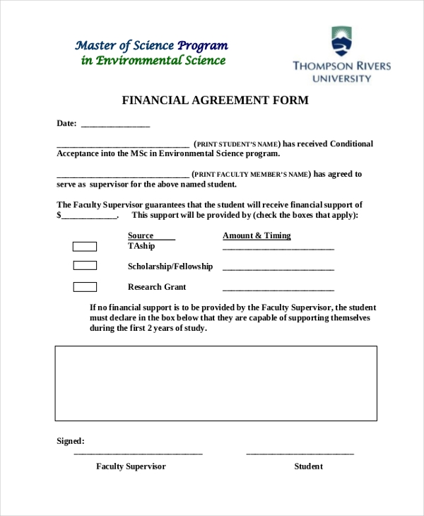 financial agreement form