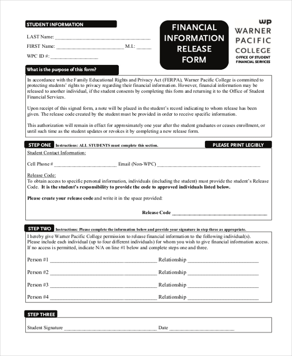 financial release form