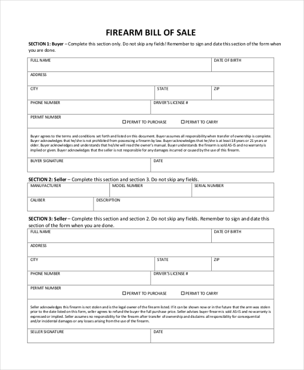Sample Firearm Bill of Sale Form 8 Free Documents in PDF – Firearms Bill of Sale
