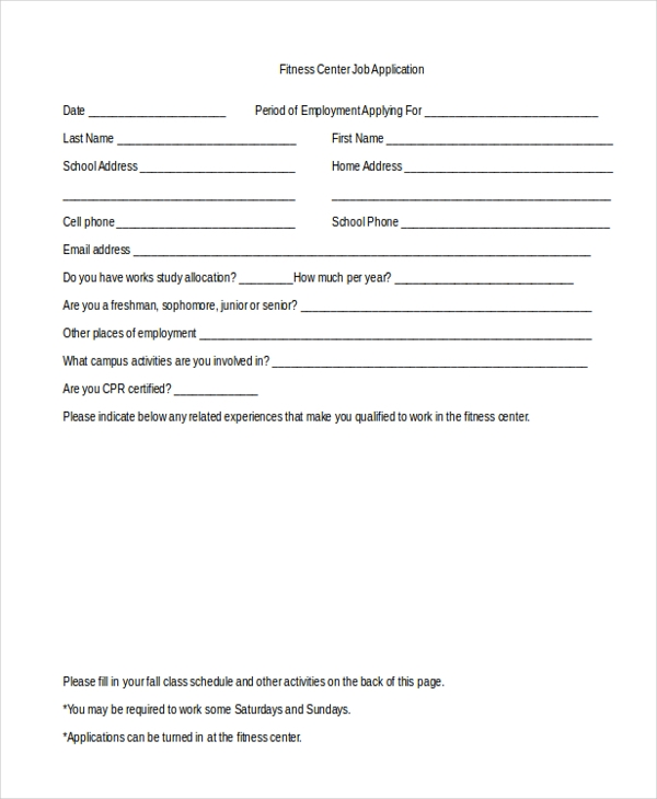 Free 10 Sample Generic Job Application Forms In Pdf Ms