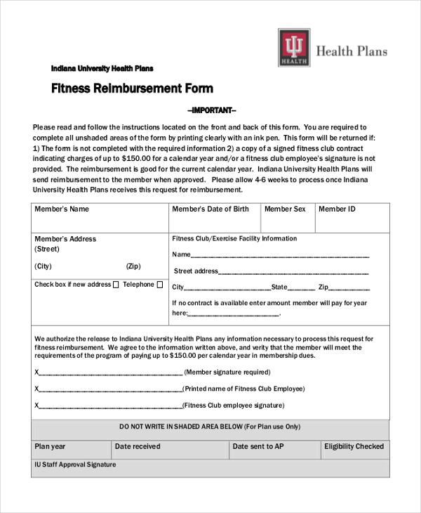 fitness reimbursement form
