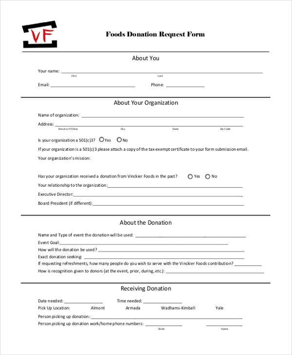 food donation request form
