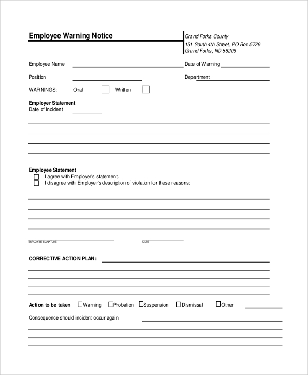 Sample Employee Warning Notice - 8+ Sample Documents in PDF, Doc