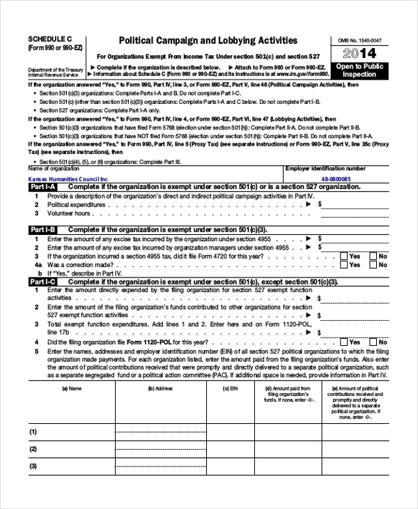 irs form 990 instructions schedule c