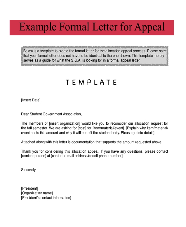 formal letter for appeal