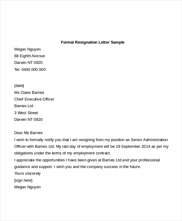 professional resignation letter sample doc letter of resignation sample 9 free documents in doc 22979 | Formal Resignation Letter Sample