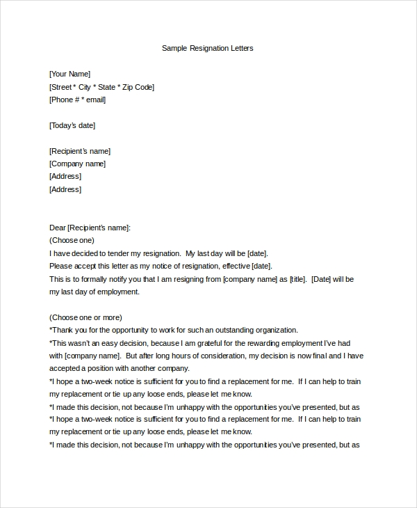 Sample Letter Of Resignation   Free Documents In Pdf Doc