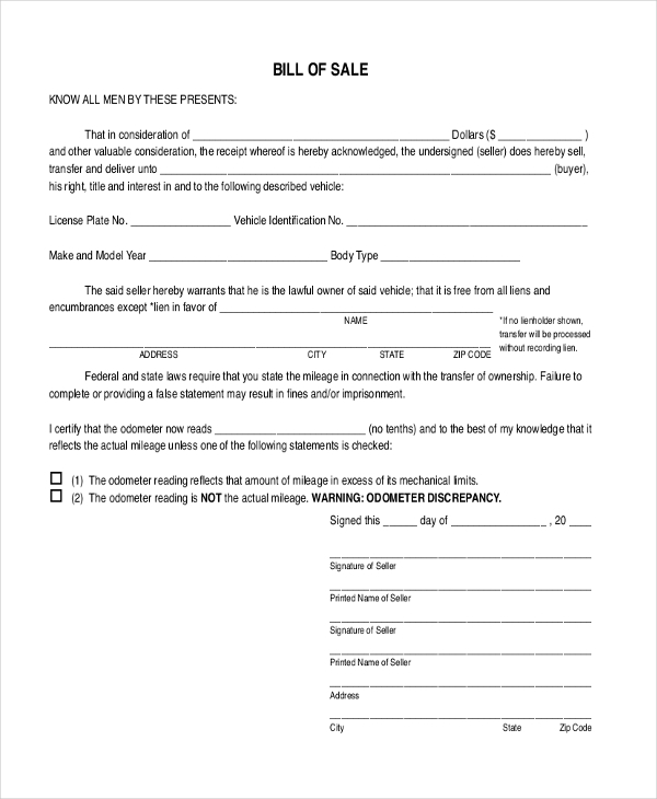 Free Bill Of Sale Sample Forms - 8+ Free Documents In Pdf
