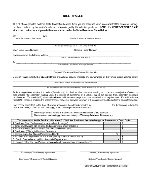 Sample Blank Bill Of Sale Form - 10+ Free Documents In Pdf