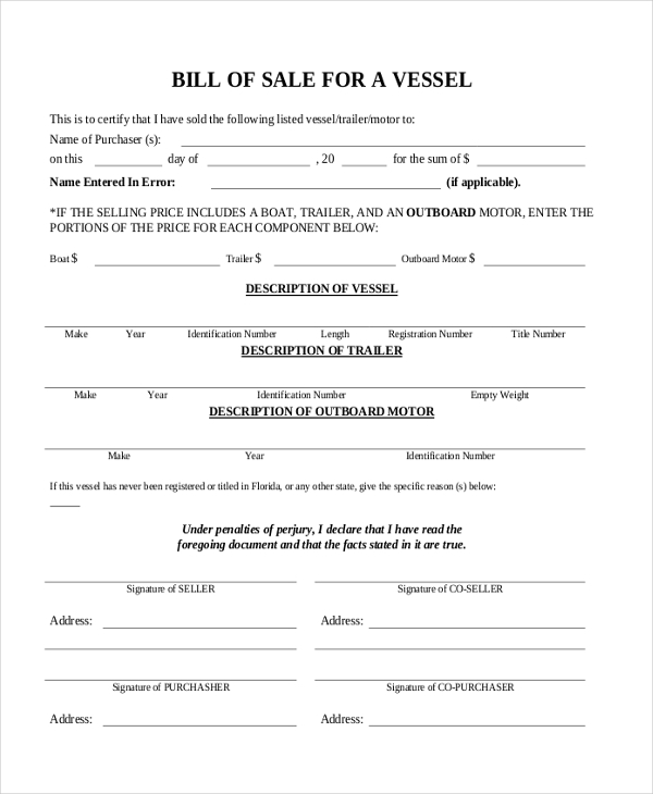 free boat bill of sale
