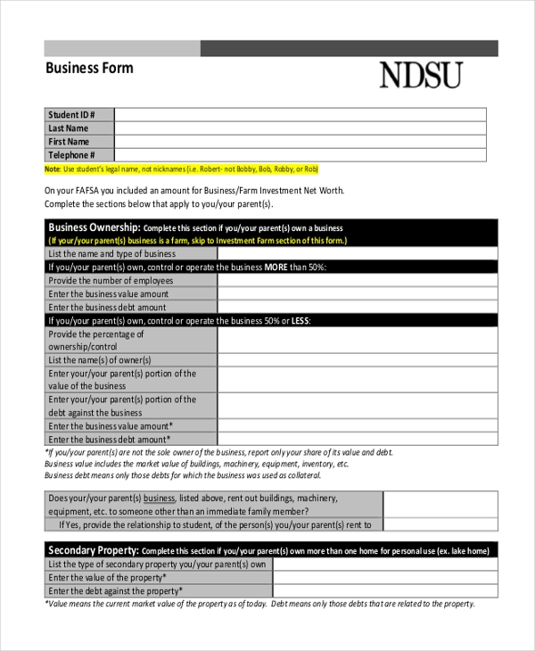 free business form